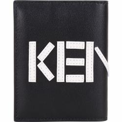 KENZO 撞色LOGO設計對折卡片皮夾(黑色)