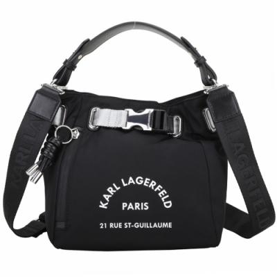 KARL LAGERFELD Rue St Guillaume 住址系列尼龍手提/斜背水桶包(黑色)
