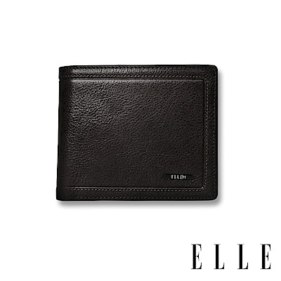 福利品 ELLE HOMME 金屬Logo6卡三折窗格真皮短夾-紳士黑