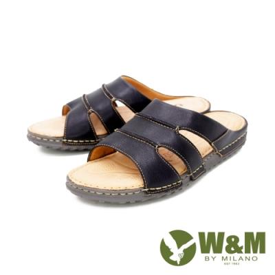 W&M(男)皮質寬帶拖鞋 男鞋 - 黑(另有咖)