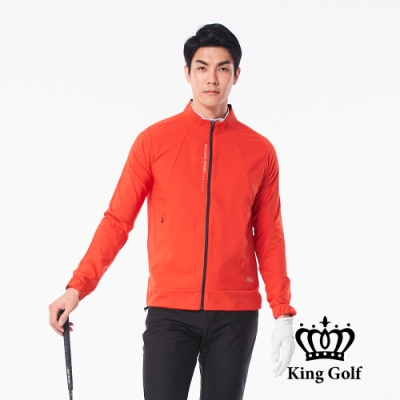 【KING GOLF】口袋邊KG印圖防風防水拉鍊素面長袖夾克外套-紅色