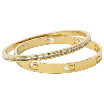 COACH 簡約C字LOGO+方鑽款雙手環(金)