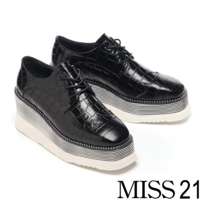 休閒鞋 MISS 21 時髦潮感鱷魚紋全真皮綁帶厚底休閒鞋-黑