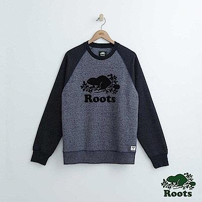 Roots 男裝-經典圓領上衣-藍色
