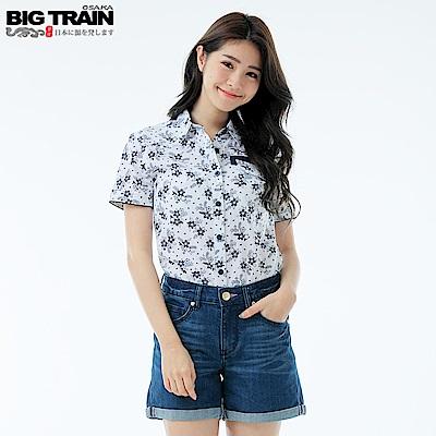 Big Train 特殊切線女襯衫-女-白底藍花