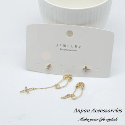 【ANPAN愛扮】韓東大門熱賣款別針不對稱雙耳洞耳環四件套組