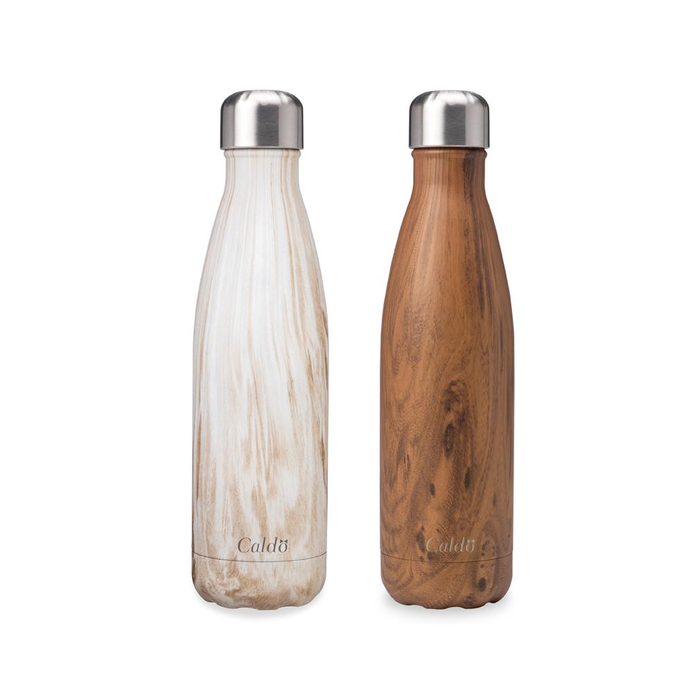 [Caldo卡朵生活] 曲線木紋不鏽鋼保溫瓶500ml