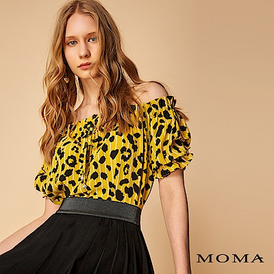 MOMA 跳色豹紋珍珠綁帶上衣