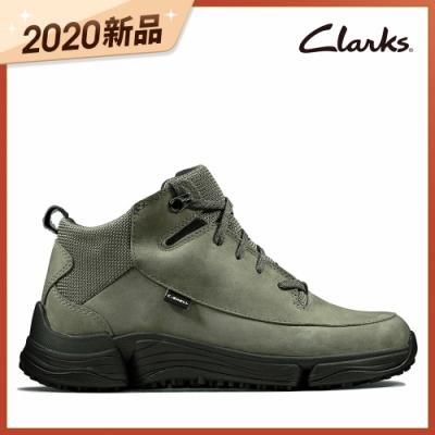 Clarks 城市漫遊 C. Shell 防潑水輕戶外三瓣底高筒休閒女鞋 灰綠色