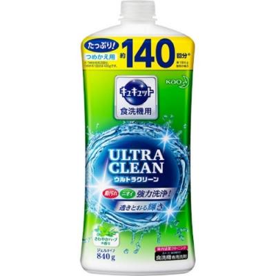 日本 花王kao ULTRA CLEAN 洗碗機用強效洗碗精補充包 草葉微香840g