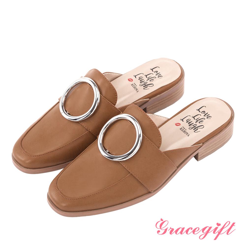 Grace gift X Kerina妞妞-歐美金屬大圓環紳士穆勒鞋 棕