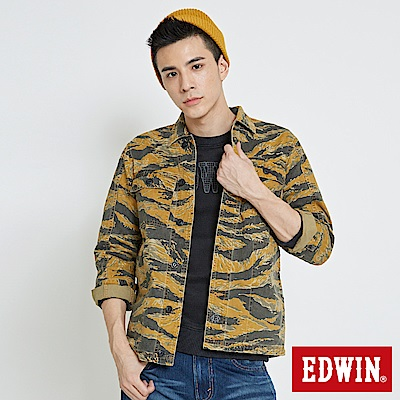 EDWIN 造型工裝長袖襯衫-男-土黃色