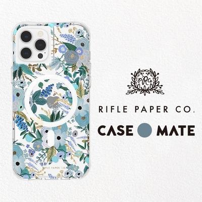 美國 Case-Mate iPhone 13 Rifle Paper Co. 限量聯名款防摔抗菌MagSafe版手機保護殼 - 花園派對/藍