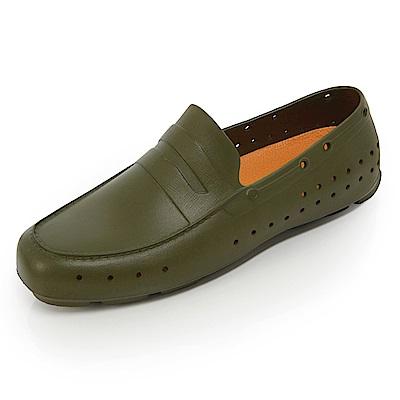 (男)Ponic&Co美國加州環保防水洞洞懶人鞋-墨綠