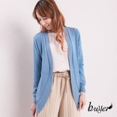白鵝buyer 韓版 開襟前長後短針織外套_淺藍