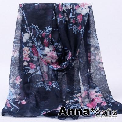 【2件450】AnnaSofia 曼花錦簇 巴黎紗披肩圍巾(藏藍系)