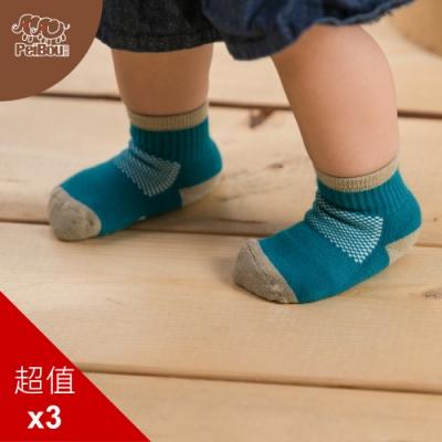 貝柔兒童萊卡氣墊止滑短襪(3入)