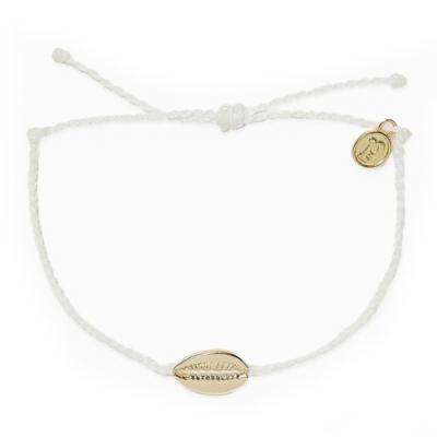 Pura Vida 美國手工 COWRIE CHARM 金色貝殼 白色蠟線衝浪手鍊手環