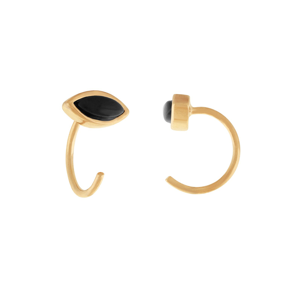five and two 美國品牌 Jo黑瑪瑙寶石之眼 金色耳環