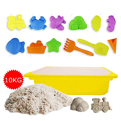 TUMBLING SAND 翻滾動力沙10公斤歡樂組 含大型沙盒 12件海灘模具組