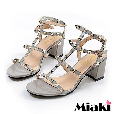 Miaki-涼鞋 東大時尚金屬高跟鞋-灰色