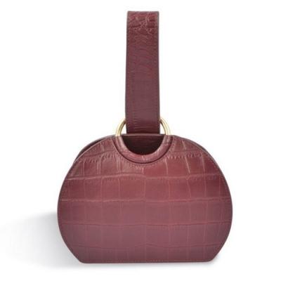 米蘭精品 手提包真皮手挽包-鱷魚紋牛皮酒紅時尚女包包情人節生日禮物73yb10