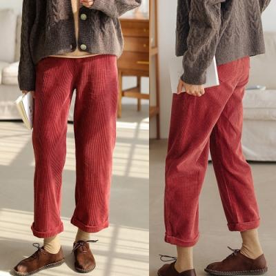 休閒褲-八條全棉燈蕊絨復古紅色九分直筒-設計所在