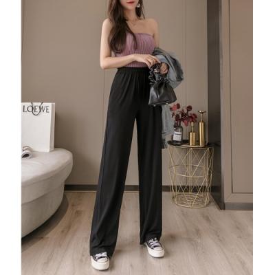 2F韓衣-簡約舒適鬆緊腰部時尚造型寬褲-黑-(S-2XL)