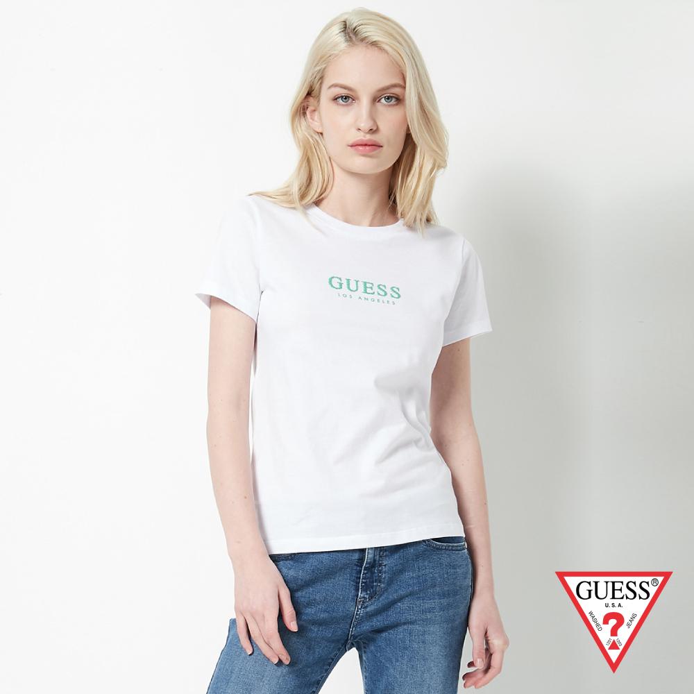 GUESS-女裝-點點印花LOGO經典短T,T恤-白 原價1390