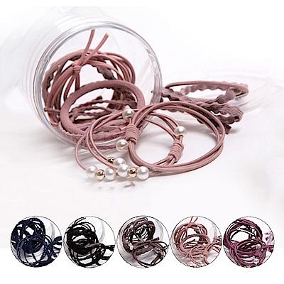 E-dot-甜美系髮飾髮圈12件盒裝(五色選)