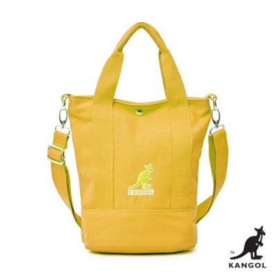 【KANGOL】英式經典-繽紛手提/側背兩用包-黃