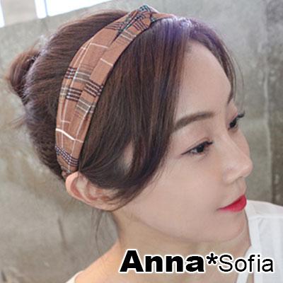 AnnaSofia 格紋元素交叉結 彈性寬髮帶(粉系) @ Y!購物