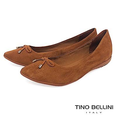 Tino Bellini巴西進口特殊格紋牛皮平底娃娃鞋_棕