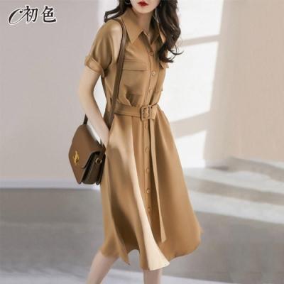 初色  氣質顯瘦襯衫連身裙-卡其色-(M-2XL可選)