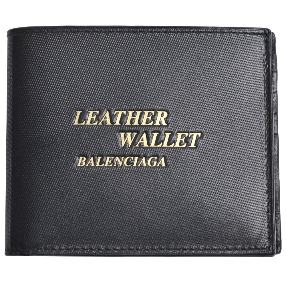 BALENCIAGA 義大利製金色浮雕LOGO標誌小牛皮八卡對折短夾(黑色) @ Yahoo 購物
