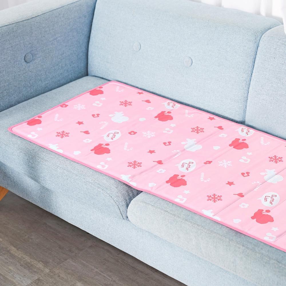 奶油獅 雪花樂園-長效型降6度涼感冰砂冰涼墊/三人坐墊/沙發墊 50x150cm-粉色