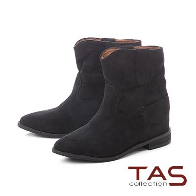 TAS質感素面絨布v口西部短靴-經典黑