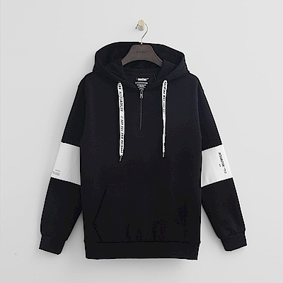 Hang Ten - 男裝 - 運動風標語抽繩帽T - 黑