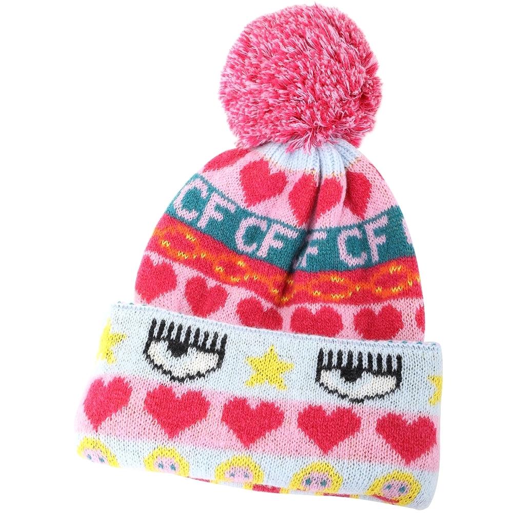 Chiara Ferragni Norwegian 多彩圖騰毛球美麗諾針織羊毛帽