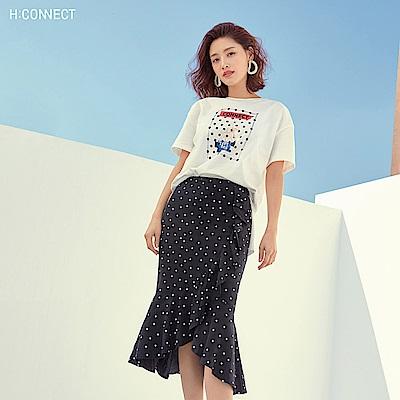 H:CONNECT 韓國品牌 女裝-點點魚尾中長裙-黑