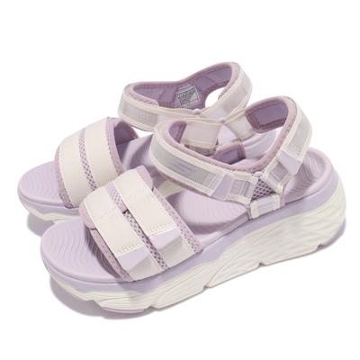 Skechers 涼鞋 Max Cushioning 女鞋 厚底 避震 緩衝 回彈 魔鬼氈 白 紫 140424WLV