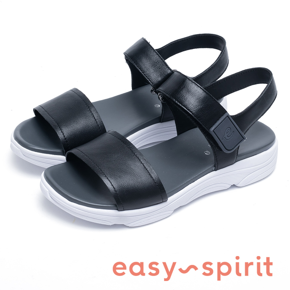 Easy Spirit OLYMPIA 沁涼寬版厚底增高涼鞋-黑色