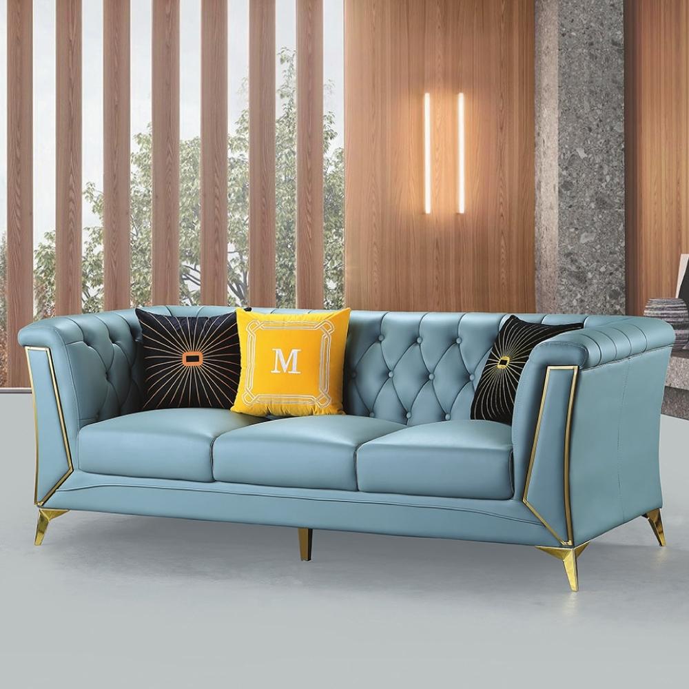AS-歐倫藍色三人沙發-210×90×79cm(隨機抱枕×3)