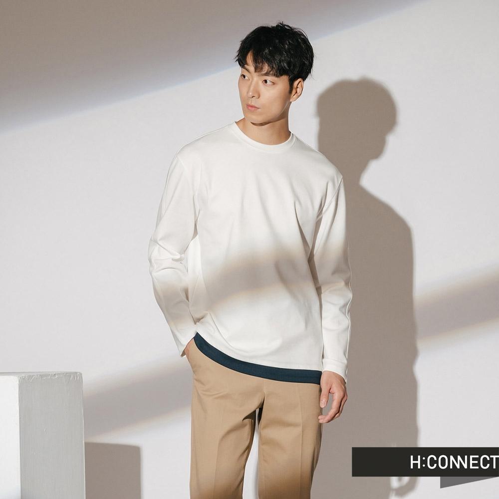 H:CONNECT 韓國品牌 男裝-立體車線拼接上衣-白