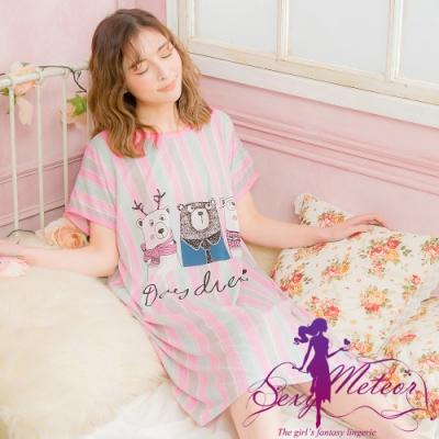 睡衣 全尺碼 牛奶絲熊熊直條短袖連身裙睡衣(活力粉綠) Sexy Meteor