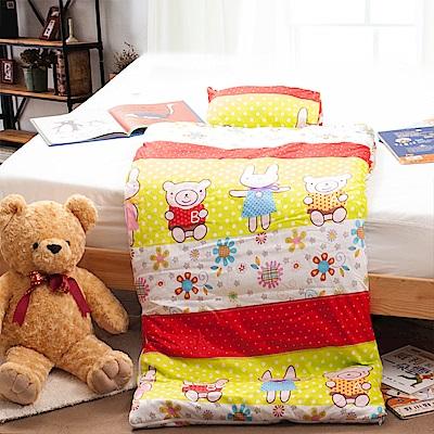 Carolan-歡樂小豬 純棉舖棉兩用加大型兒童睡袋