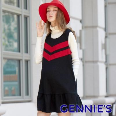 Gennies奇妮-設計感V色塊無袖洋裝-黑(T2A01)