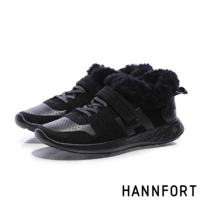 HANNFORT ICE QQ羊羔毛休閒運動鞋-女-QQ黑