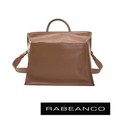 RABEANCO KAMI方型牛皮斜背手提包 駝