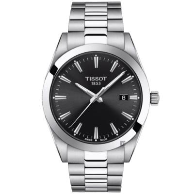 TISSOT 天梭Gentleman 紳士石英手錶-黑/40mm T1274101105100